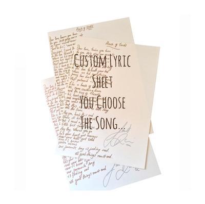 Custom Handwritten Lyric Sheet (Signed)