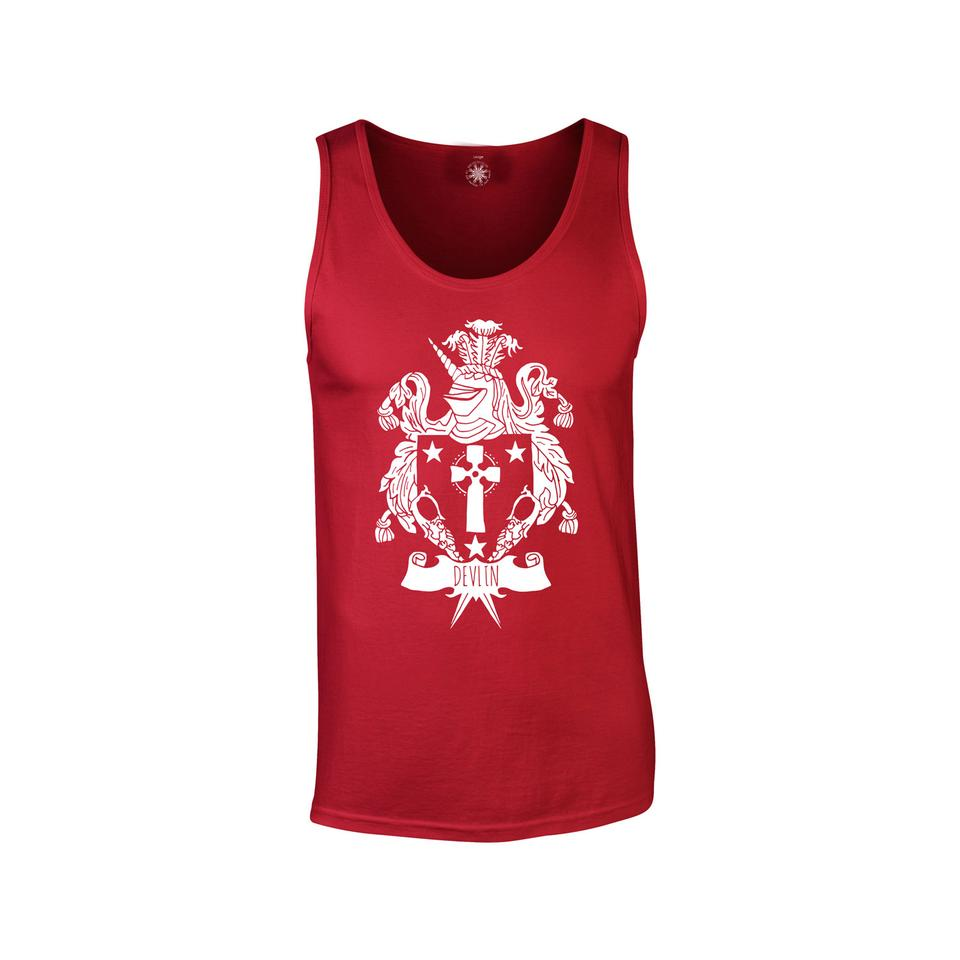 Red 'Coat Of Arms' Vest Top