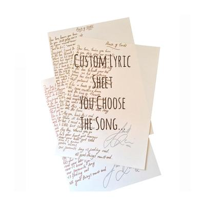 Custom Handwritten Lyric Sheet (Signed)